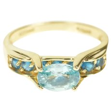 14K Oval Blue Topaz Channel Ornate Statement Ring Size 8 Yellow Gold [CXXF]