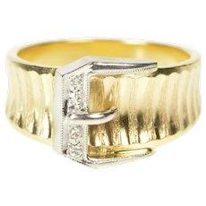14K Two Tone Diamond Belt Buckle Statement Ring Size 6.25 Yellow Gold [CXXF]