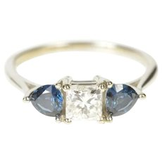 14K 1.72 Ctw Brilliant Diamond Sapphire Engagement Ring Size 7 White Gold [QRQQ]