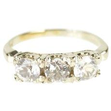10K Three Stone Cubic Zirconia Retro Statement Ring Size 2.25 White Gold [QRQQ]