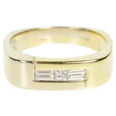 14K 0.40 Ctw Men's Diamond Two Tone Wedding Band Ring Size 11.25 Yellow Gold [CXXF]