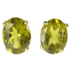 14K Oval Peridot Solitaire August Birthstone Stud Earrings Yellow Gold [CXXK]