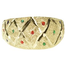 14K Checkered Textured Resin Dot Pattern Band Ring Size 7.5 Yellow Gold [QRQQ]