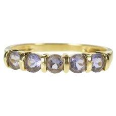 14K Round Syn. Tanzanite Five Stone Wedding Band Ring Size 10 Yellow Gold [CXXF]