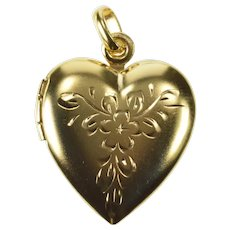 14K Etched Floral Scroll Heart Photo Picture Locket Pendant Yellow Gold [QRQQ]