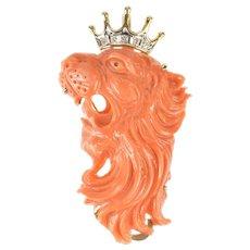 14K Exquisite Coral Roaring Lion Diamond Crown Pendant/Pin Yellow Gold [QRQQ]