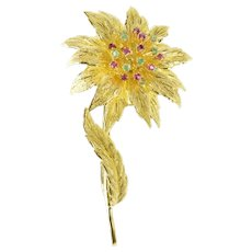 18K Retro Ornate Ruby Emerald Cluster Flower Pin/Brooch Yellow Gold [CXXF]