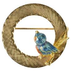 14K Enamel Bird Robin Retro Circle Round Statement Pin/Brooch Yellow Gold [CXXF]