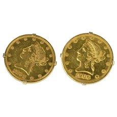 14K 1892 & 1906 $10 Ten Dollar Eagle Coin Men's Cuff Links Yellow Gold [QRQQ]