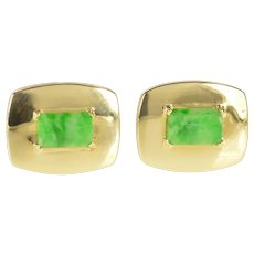 18K Retro Jade Ornate Rounded Men's Cuff Links Yellow Gold [CXXT]
