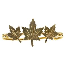 Gold Filled Etched Maple Leaf Nature Motif Bar Pin/Brooch  [CXXT]