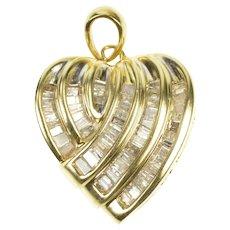 10K 1.00 Ctw Baguette Diamond Channel Heart Pendant Yellow Gold [QRQQ]