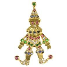 18K Ornate Ruby Diamond Emerald Sapphire Clown Pendant Yellow Gold [CXXT]