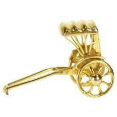 14K 3D Articulated Rickshaw Covered Cart Charm/Pendant Yellow Gold [QRQQ]