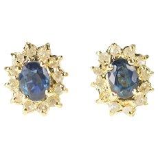 14K Oval Sapphire Diamond Halo Classic Stud Earrings Yellow Gold [QRQQ]
