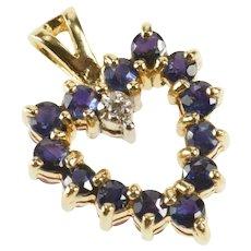 14K Sapphire Ruby Diamond Reversible Heart Pendant Yellow Gold [QRQQ]