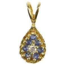 14K Pear Sapphire Diamond Halo Cluster Pendant Yellow Gold [QRQQ]