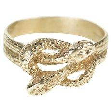 14K Ornate Retro Snake Serpent Knot Statement Ring Size 7.5 White Gold [QRQQ]
