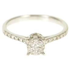 14K Round Diamond Cluster Promise Engagement Ring Size 6.5 White Gold [QRQQ]