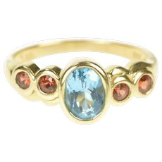 14K Oval Blue Topaz Garnet Accent Statement Ring Size 6 Yellow Gold [CXXT]