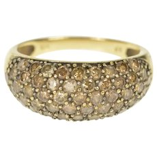 10K 1.22 Ctw Pave Brown Diamond Statement Band Ring Size 7 Yellow Gold [CXXT]