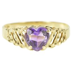 10K Heart Amethyst Grooved Wave Design Ring Size 8.75 Yellow Gold [QRQQ]