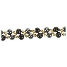 "14K Round Black Onyx Hematite Beaded Statement Bracelet 7"" Yellow Gold [QRQQ]"