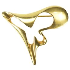 18K Georg Jensen Abstract Wavy 1324 Statement Pin/Brooch Yellow Gold [QRQQ]
