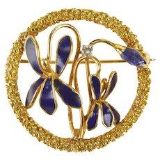 18K Art Nouveau Blue Enamel Flower Diamond Pin/Brooch Yellow Gold [QRQQ]
