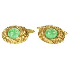 18K Art Nouveau Natural Emerald Angel Men's Cuff Links Yellow Gold [QRQQ]