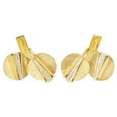 14K Round Diamond Accent Geometric Retro Men's Cuff Links Yellow Gold [QRQQ]