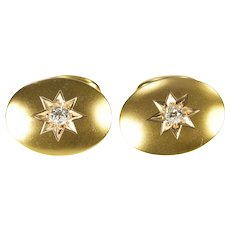 14K 0.40 Ctw Retro Diamond Ornate Men's Cuff Links Yellow Gold [QRQQ]