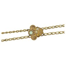 Victorian Seed Pearl Opal Slide Chain Necklace Watch Fob [QRQQ]