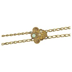 Victorian Seed Pearl Opal Slide Chain Necklace Watch Fob [CXXK]
