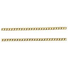 """14K 1.5mm Curb Link Fancy Classic Chain Necklace 18"""" Yellow Gold [QRQC]"""