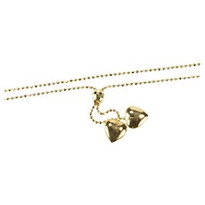"""14K Ball Link Puffy Heart Charm Love Romantic Necklace 16.75"""" Yellow Gold [QRQC]"""