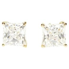 14K Princess Square Solitaire Classic Stud Earrings Yellow Gold [QRQC]