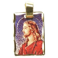 14K Holographic Enamel Jesus Christ Christian Charm/Pendant Yellow Gold [QRQC]