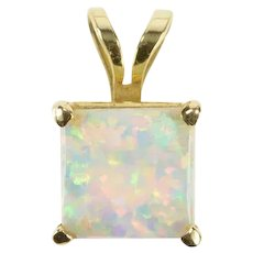 14K Square Syn. Opal Inset Simple Statement Pendant Yellow Gold [QRQC]
