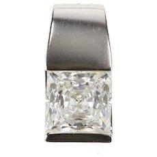 14K Princess Cut Cubic Zirconia Solitaire Pendant White Gold [QRQC]