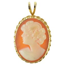 14K Oval Retro Carved Shell Lady Cameo Pendant Yellow Gold [QRQC]