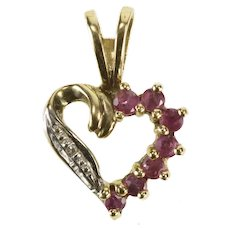 10K Ruby Diamond Accent Heart Love Pendant Yellow Gold [QRQC]