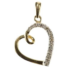 10K Diamond Inset Classic Simple Heart Love Pendant Yellow Gold [QRQC]