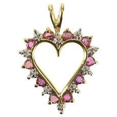 10K Ruby Diamond Inset Halo Heart Love Pendant Yellow Gold [QRQC]