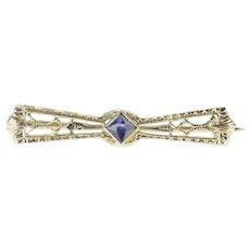 14K Art Deco Syn. Sapphire Filigree Bow Bar Pin/Brooch White Gold [QRQC]