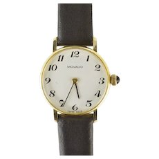 Round Movado Retro Classic Leather Strap Women's Watch [QRQC]
