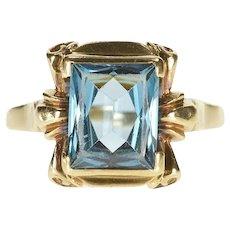 10K Ornate Retro Brilliant Blue Topaz Statement Ring Size 7.75 Yellow Gold [QRQC]