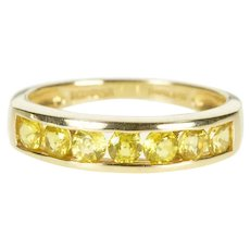 14K Channel Inset Citrine Stacking Wedding Band Ring Size 6 Yellow Gold [QRQC]