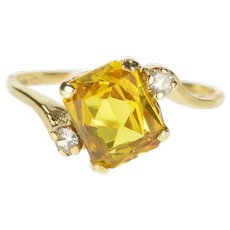 10K Brilliant Cut Syn. Citrine Diamond Accent Bypass Ring Size 6 Yellow Gold [QRQC]