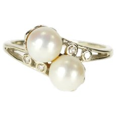 14K Retro Two Pearl Diamond Inset Bypass Ring Size 7.5 White Gold [QRQC]